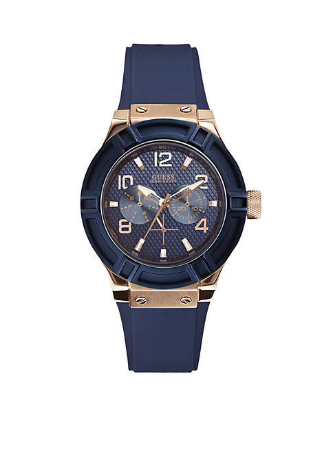 Womens Blue and Rose Gold-Tone Standout Style Watch