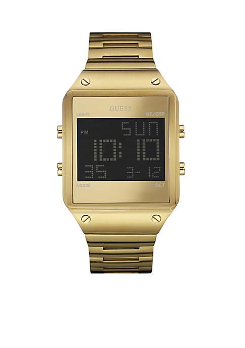 Mens Brushed Gold-Tone Digital Watch