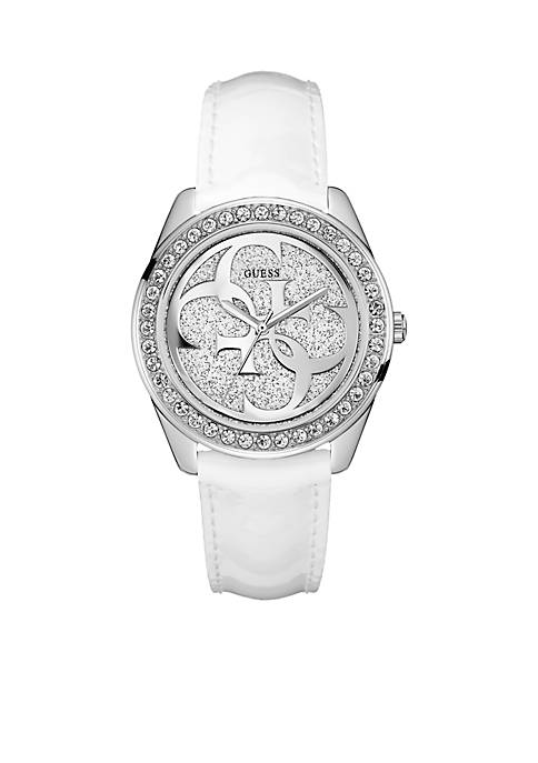 White And Silver-Tone Crystal Logo Watch