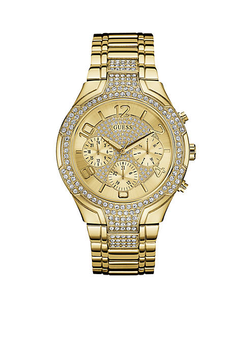 GUESS® Womens Gold-Tone Crystal Watch