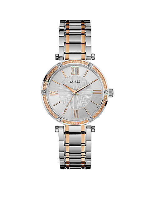 Womens Two Tone And Crystal Dress Watch