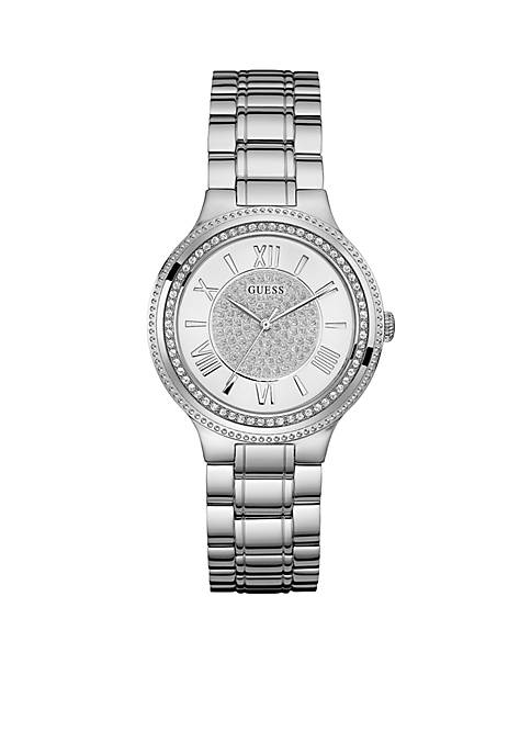 Womens Silver-Tone And Crystal Roman Numeral Watch