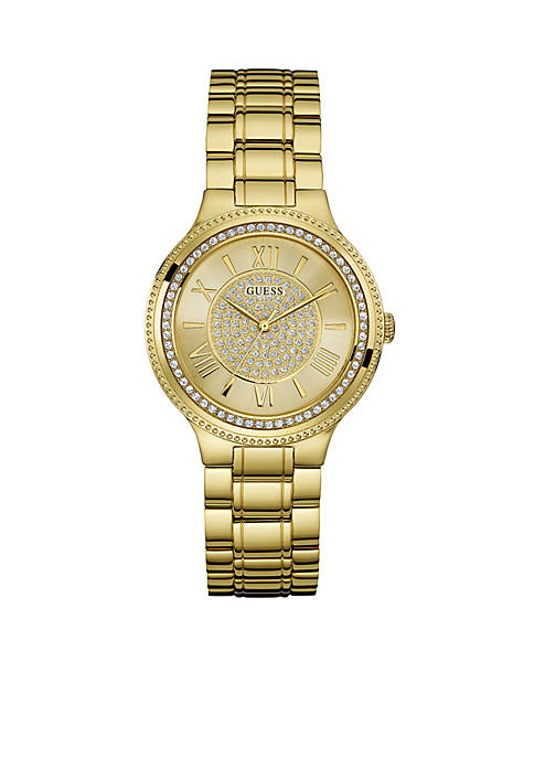 Womens Gold-Tone And Crystal Roman Numeral Watch