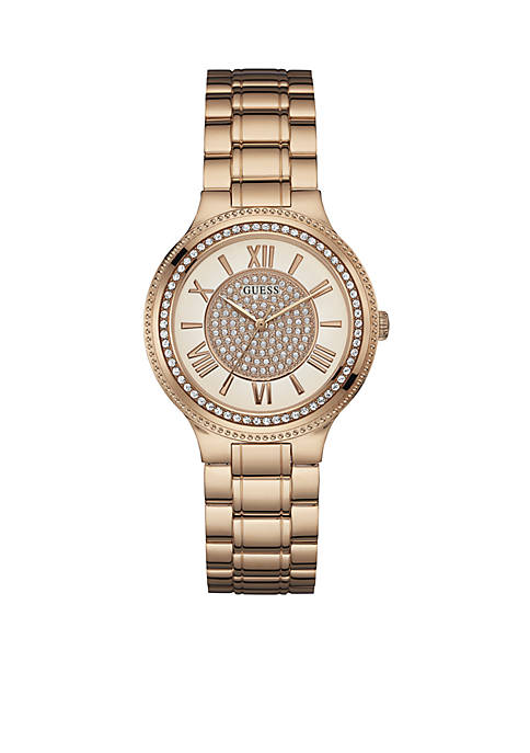 GUESS® Womens Rose Gold-Tone and Crystal Watch