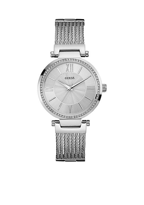 Womens Silver-tone And Crystal Watch