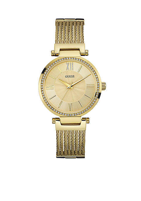 Womens Gold-Tone And Crystal Watch