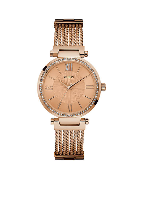 GUESS® Womens Rose Gold-Tone Watch