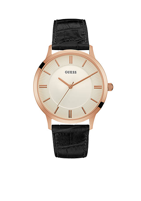 Rose Gold-Tone Guess And Black Classic Leather Watch