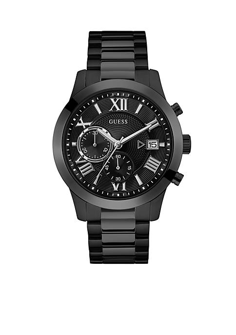 Sterling Silver Guess Black Classic Style Watch
