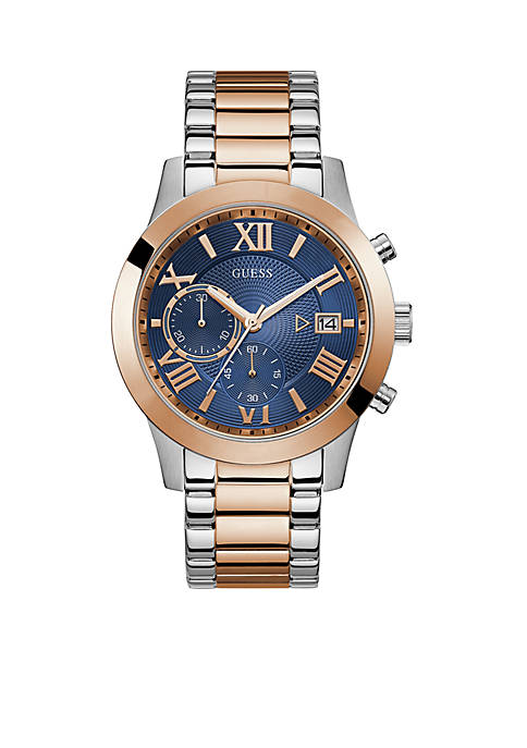 Blue And Rose Gold-Tone Chronograph Mens Watch