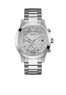 Silver-Tone Classic Chronograph Watch