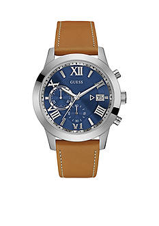 GUESS® Men's Blue And Brown Leather Strap Chronograph Watch