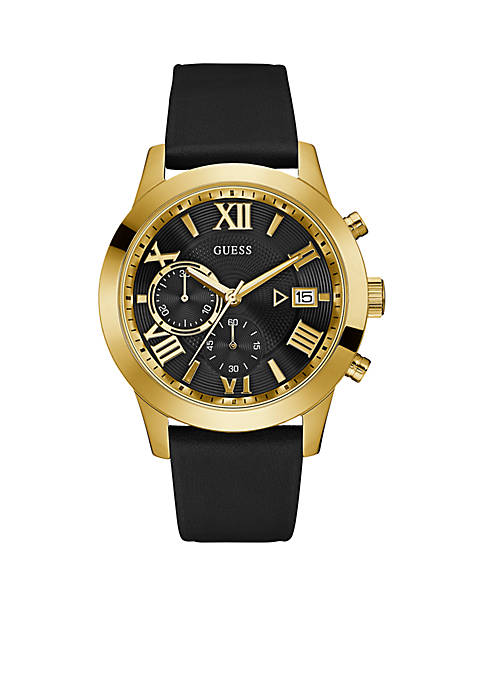 Gold-Tone And Black Leather Chronograph Watch