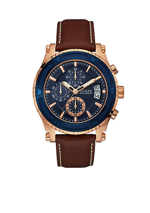 Brown And Rose Gold-Tone Chronograph Sport Watch