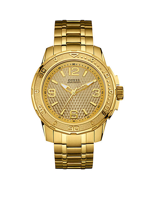 GUESS® Mens Gold-Tone Textured Sport Watch