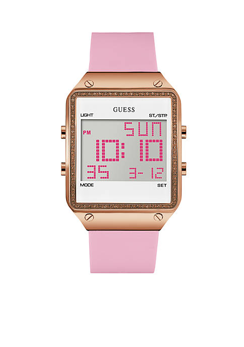 GUESS® Womens Rose Gold-Tone Pink Digital Watch