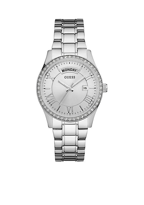 GUESS® Silver-Tone Guess Classic Style Dress Watch