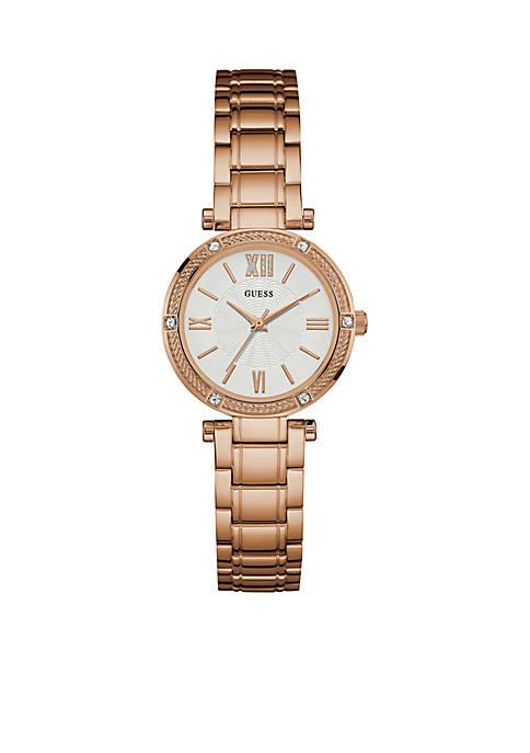 GUESS® Womens Rose Gold-Tone Petite Dress Watch