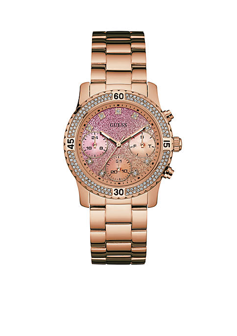 GUESS® Rose Gold-Tone Gradient Feminine Sport Watch