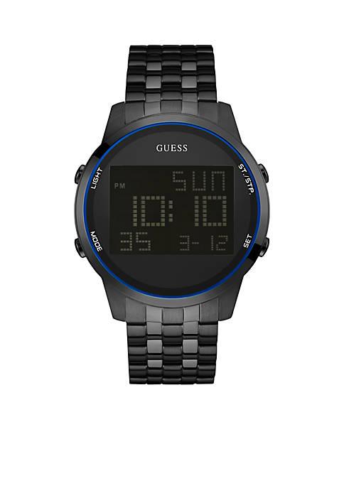 Mens Black Ionic Plating Digital Chronograph Watch