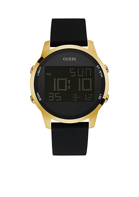 GUESS® Mens Gold-Tone Black Silicone Digital Watch