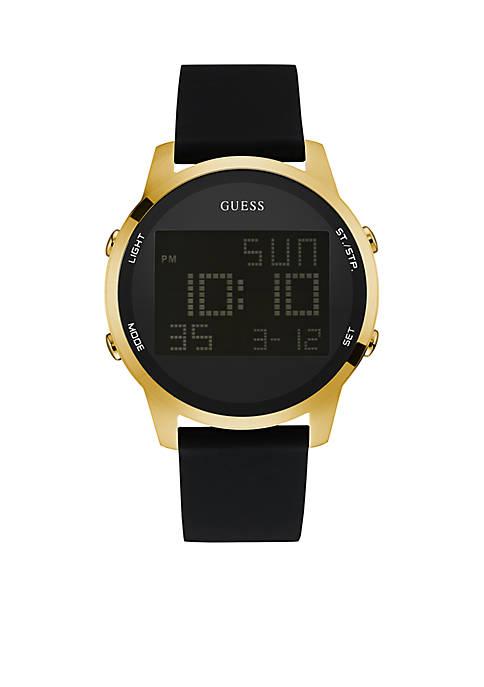 Mens Gold-Tone Black Silicone Digital Watch