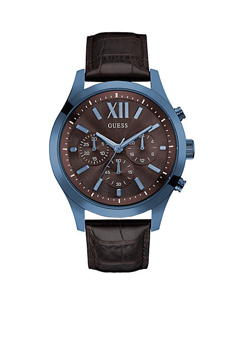 GUESS® Mens Blue and Brown Dress Sport Chronograph