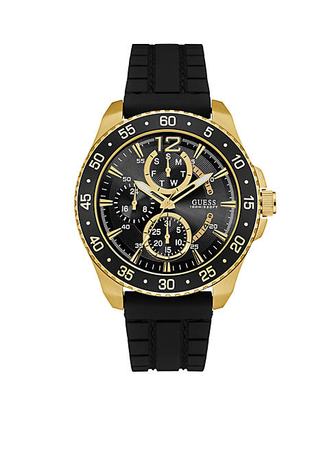 Mens Gold-Tone and Black Sports Watch