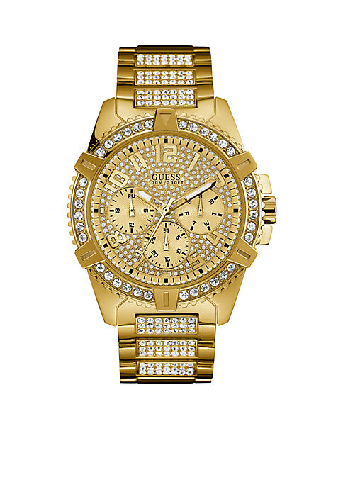 GUESS® Mens Gold-Tone Crystal Multifunction Watch