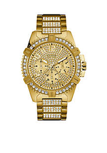 GUESS® Men's Gold-Tone Crystal Multifunction Watch