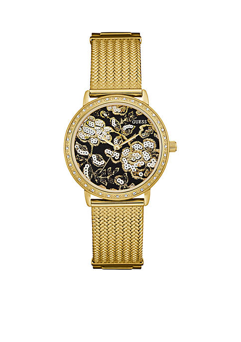 Gold And Black Floral Mesh Watch