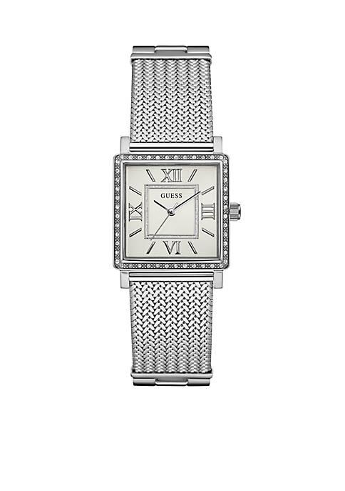 Womens Silver-Tone Crystal Watch