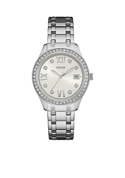 GUESS® Silver-Tone Guess And Crystal Classic Watch