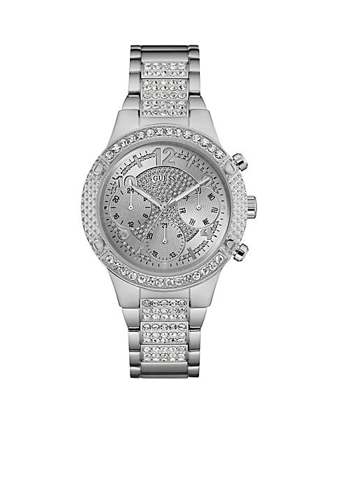 GUESS® Steel And Crystal Multifunction Watch