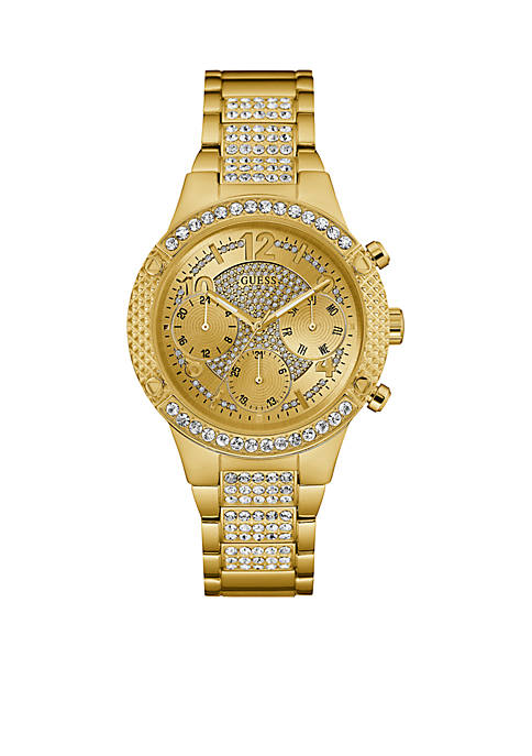 GUESS® Gold-Tone Crystal Multifunction Watch