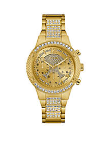 Gold-Tone Crystal Multifunction Watch