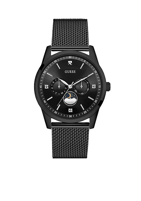 Mens Black Steel Varick Sleek Diamond Watch