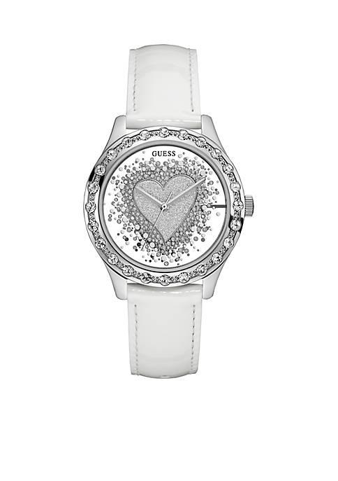 Womens Glittery White See Thru Heart Watch
