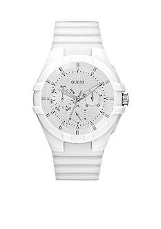 GUESS® Women's White Silicone Strap Multifunction Sport Watch