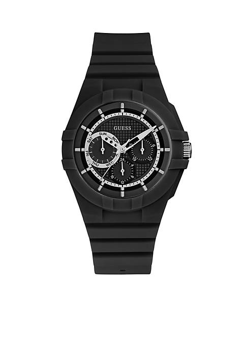 GUESS® Womens Black Analog Silicone Sport Watch