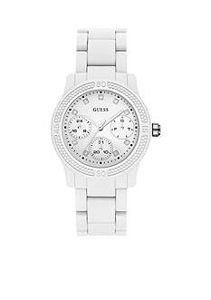 GUESS® Women's White Polycarbonate Multifunction Sport Watch