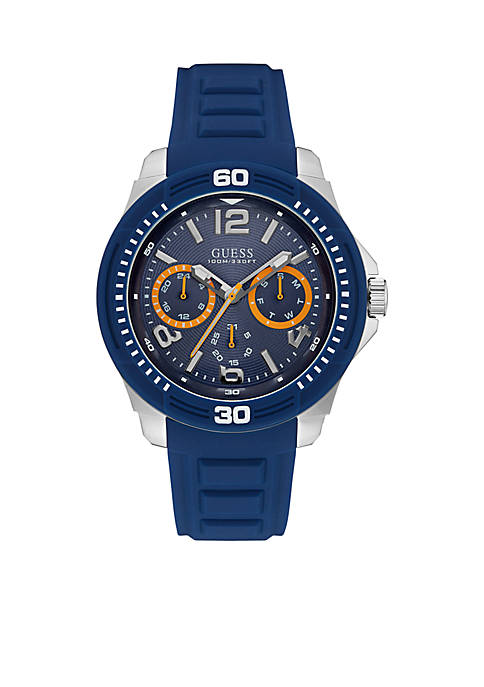 Mens Blue And Silver-Tone Silicone Strap Sport Watch