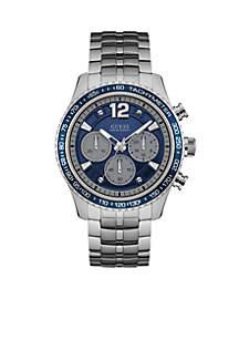 Men's Silver-Tone Fleet Blue Chronograph Watch