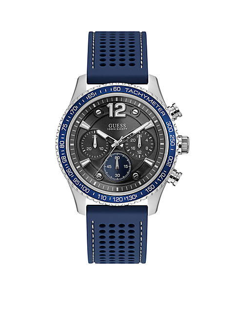 GUESS® Mens Stainless Steel Fleet Blue Silicone Chronograph