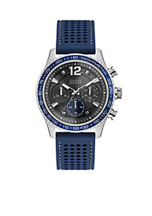 Men's Stainless Steel Fleet Blue Silicone Chronograph Watch