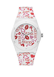 Iconic Retro Red And Pink Print White Silicone Strap Watch
