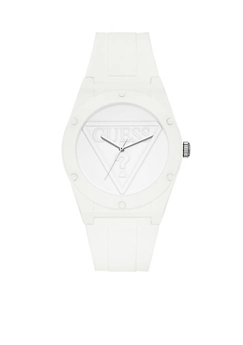 GUESS® Womens Iconic Retro White Sport Silicone Watch