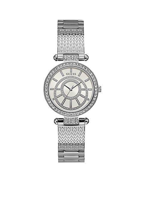 GUESS® Womens Stainless Steel Crystal Bracelet Watch