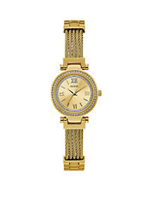 Gold-Tone And Crystal Modern Classic Watch