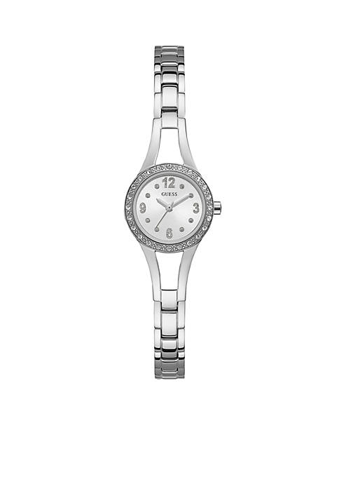 Silver-Tone And Crystal Watch